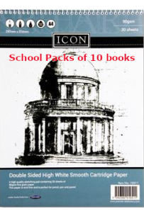Icon A4 90gsm Spiral Sketch Pad 30 Sheets (Pack of 10)