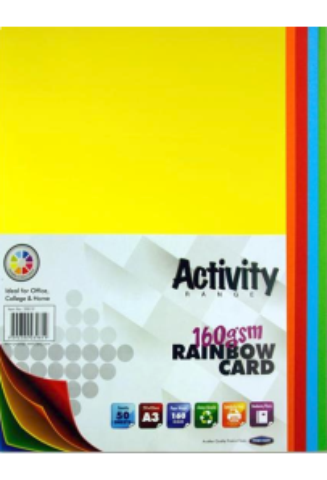 Premier Activity A2 Card 25 Sheets - Rainbow
