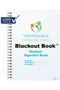 GDPR Student Sign-Out Book : Blackout Book (Price includes VAT)